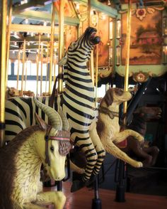 Goat, Zebra and Dog carousel animals. Merry Go Round Nursery Decor Idea Carnival by NostalgiqueImages