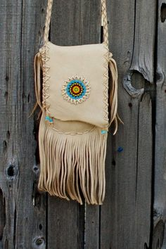 Leather handbag   fringed beaded bag  Beaded by thunderrose