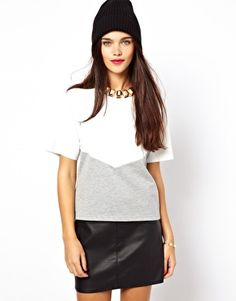 ASOS T-Shirt with PU Panel