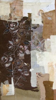 Striking. I never think to work in browns or add fabric bits and white outline florals ... Mandy Pattullo