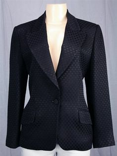 New ELLEN TRACY Black Jacket Art Deco Shell Texture Career Occasions Misses 4 S | eBay