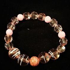 Color rosa transparente con beads rosa glitter #Andhycreaciones #bracelets #arte