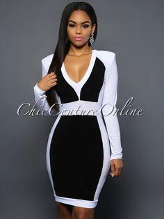 Chic Couture Online - Ambrea Black White Color Block Dress, (http://www.chiccoutureonline.com/ambrea-black-white-color-block-dress/)
