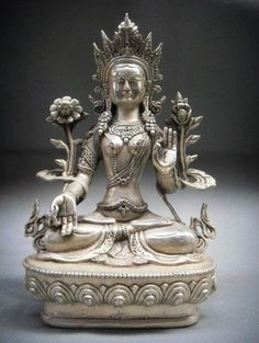 Tibet Silver 7-Eyes White Tara Goddess Statue