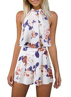 pipigo Women High Neck Skinny Long Sleeve Club Zip Floral Printed Bodysuit Jumpsuits
