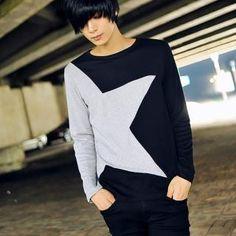 Really diggin this korean fashion. Large star. Two Tone shirt