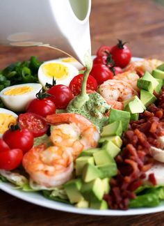 Easy Whole30 Cobb Salad Recipe with Shrimp via Kits Coastal