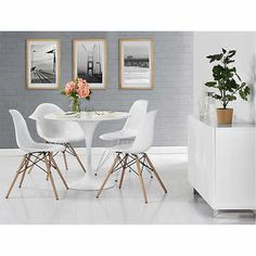 Jan White Chair 2-pack with Wood Legs