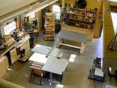 Check out our collection of garage designs to find your ideal garage workshop plans. The floor plan for the perfect garage. Store lumber, metal, pipe, and all raw materials as close to the entry point as possible. Woodworking Workshop Layout, Garage Workshop Plans, Workshop Shed, Workshop Design, Workshop Storage, Workshop Organization, Diy Woodworking, Workshop Ideas, Organization Ideas