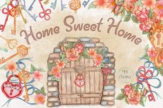Home Sweet Home. Watercolor set - Illustrations - 1