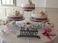 3 Tier Wedding Cake With Personalised Mr an dMrs