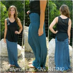Turquoise and Navy Striped Maxi Skirt! Pin Striped Maxi Skirt! Apricot Lane Boutique - San Antonio, TX