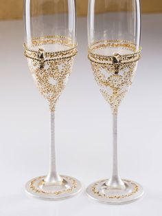 Dom i Meble Cheers Happy Anniversary Pair of Champagne Glasses Sapphire Amethyst Emerald etc