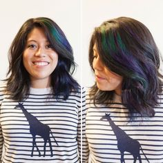 Oil slick, This Crazy New Hair Dye Trend I Tried Finally Lets Brunettes Have Some Fun via Brit + Co. Oil Slick Hair Color, Hair Color For Black Hair, Hair Colour, Dark Hair, Slick Hairstyles, Pretty Hairstyles, Lauren Conrad, Blond, Pixie