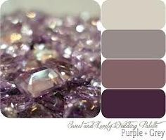 Master bedroom colors, grey walls, antique purple quilt, plum, silver and glass accents! (This would be awesome since Brad's favorite color is purple and amethist is my birthstone! Decoration Palette, Decoration Design, Wall Colors, House Colors, Paint Colors, Spa Colors, Royal Colors, Purple Grey, Gray Color