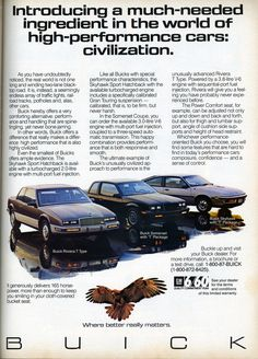 1987 Buick T-Tpyes. Very rare Skyhawk Buick Skyhawk, High Performance Cars, American Auto, Car Advertising, Magazine Ads, Print Ads, Vintage Advertisements, Old Cars, Motor Car