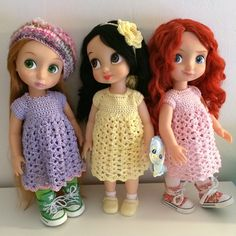 Dolls Dresses / Disney Animator Dolls Rapunzel, Snow White and Merida / Crochet