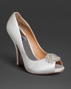Bebe Blair Peep Toe Jeweled Pump White