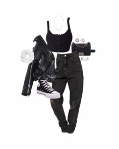 Cute Comfy Outfits, Warm Outfits, Dope Outfits, Winter Fashion Outfits, Stylish Outfits, Moda Punk Rock, Leather Jacket Outfits, Tumblr Outfits, Converse