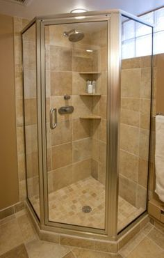 corner shower with glass tile privacy window