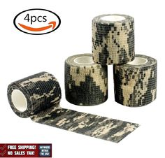 4 Rolls Self Аdhesive Camouflage Wrap Rifle Cycling Waterproof Stealth Tape Camo