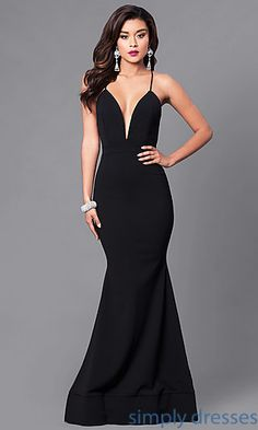 Shop long mermaid prom dresses at Simply Dresses. Floor-length spandex formal gowns under $200 with plunging low v-necklines and open backs.