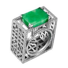 18ct white gold, diamond and jade Wish Fulfilling Lattice ring by Dickson Yewn for Annoushka  (BB)