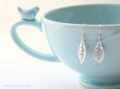 Giveaway Item!! Enter to win! Delicate Matte Silver Leaf Dangle Earrings on Platinum Plated French Ear Wires.