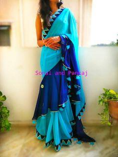 Green Magenta & Midnight Blue classy drape saree with raw silk blouse fabric. Drape Sarees, Organza Saree, Saree Blouse Neck Designs, Fancy Blouse Designs, Lehenga Saree Design, Lehenga Choli, Sari Design, Simple Sarees, Saree Styles