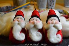 Needle felted Santa ornaments by Myriam Powell www.myriampowelldesigns.etsy.com