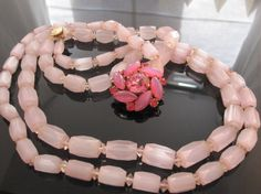 Double strand pink vintage necklace by viviansdream on Etsy, $68.00