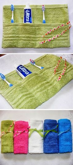 Travel tip. Sew a few stitches on a towel and keep your toiletry dry. A fun gift idea, too.These would make great gifts for Operation Christmas Child! Homemade Gifts, Diy Gifts, Best Gifts, Sewing Hacks, Sewing Crafts, Sewing Tips, Sewing Tutorials, Sewing Ideas, Sewing Box