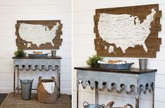 Map Wall Decor, Wall Map, Wood Map