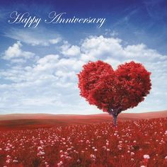 Happy Anniversary Blank Card Husband Wife - Red Tree of Love Card plus Freepost