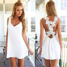 Women Summer Dress V Neck Backless Lace Crochet Chiffon Beach Mini Dresses Plus Size S-3XL Vestidos Sundress Black White