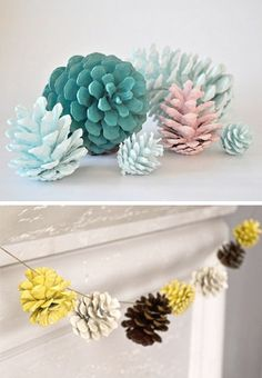 Natural meets pretty paints for Christmas decor. Painted pine cones.