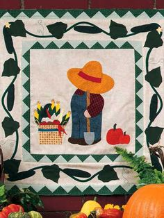 Gardening Bill Wall Quilt free pattern download. Find this pattern at Free-Quilting.com.