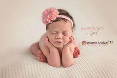 Pink Flower Headband, Scallop, Baby Headband, Infant Headband, Newborn Headband, Photo Props, Baby & Toddler, Flower Girl, Baptism - pinned by pin4etsy.com