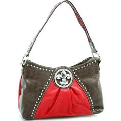 Dasein Studded croco 2-tone shoulder bag w/ fleur de lis emblem -Red/ Cocoa Brown Dasein Shoulder Bags,http://www.amazon.com/dp/B009TFBIYE/ref=cm_sw_r_pi_dp_yhD8qb0WQ0J61CSK