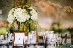 Table arrangements and twinkle lights