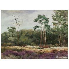 Heath at the Reest valley - Heideveld in het Reestdal Watercolor on Millford, 26x36 cm, September 2016 Location: Reestdal, Drenthe/Overijssel, the Netherlands 280916  € 550