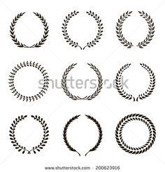 Set of black silhouette circular laurel wreath