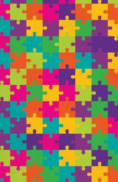 Colorful Jigsaw Puzzle Pattern Art Print