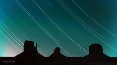 Star trails over Monument Valley, Utah