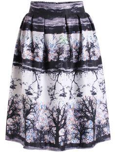 Black High Waist Floral Flare Midi Skirt 15.33