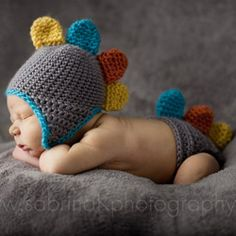 Turn your little one into a dinosaur with this cute dino hat and diaper cover by New Millie.