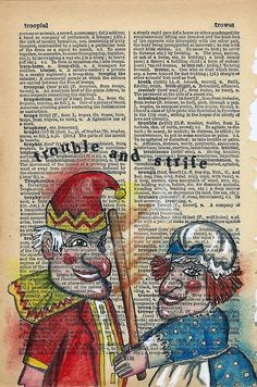Quirky colourful mixed media illustrations, often repurposing old dictionaries and maps. Say Word, Music Page, Dictionary Art, Book Pages, Book Art, Map, Baseball Cards, Illustration, Journaling