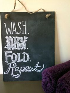 Shabby Chic, Hand Painted Laundry Room Chalkboard Art Sign- Ready to Hang with Twine. via Etsy.