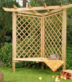 Build your own garden arbor bench from these 45 DIY Kits or use design ideas as inspiration. Pergola style, corner, lattice & under seat storage designs. Awesome Garden Arbor Ideas You Can Create Yourself To Accent Your Backyard Pergola D'angle, Building A Pergola, Corner Pergola, Small Pergola, Metal Pergola, Wooden Pergola, Pergola Shade, Pergola Ideas, Arbor Ideas