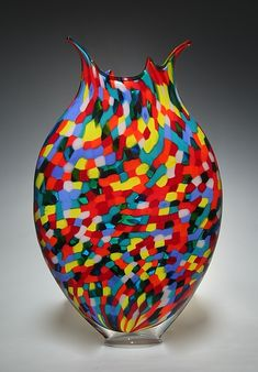 Mosaic Foglio II by David Patchen - Medium, With Square Base (Art Glass Vessel) Glass Vessel, Glass Art, Corning Museum Of Glass, Shattered Glass, Stained Glass Designs, Modern Glass, Vases Decor, Hand Blown Glass, Fused Glass
